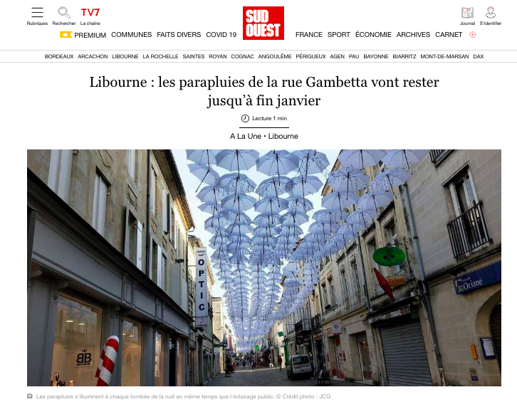 Libourne: umbrellas on rue Gambetta will stay until the end of January 1