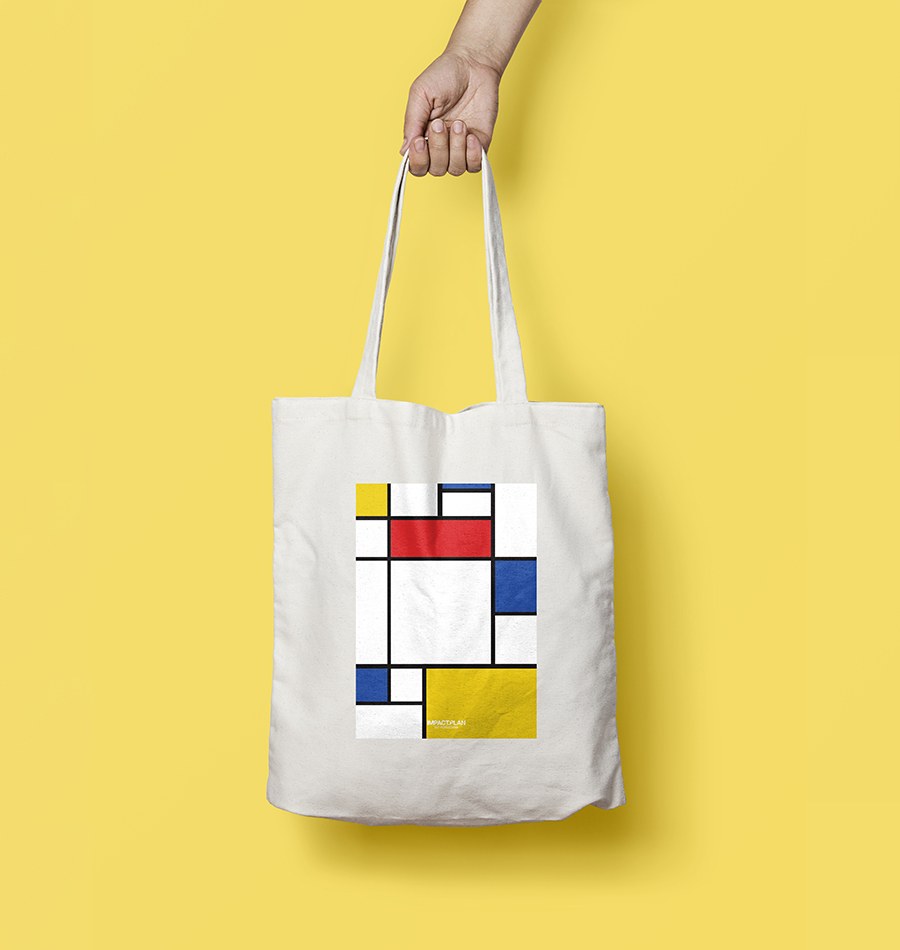 """Bag """"Composition with Red Blue and Yellow"""""""