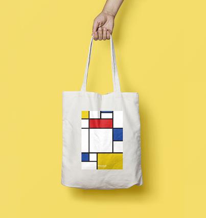 """Saco """"Composição com Vermelho Azul e Amarelo"""""""