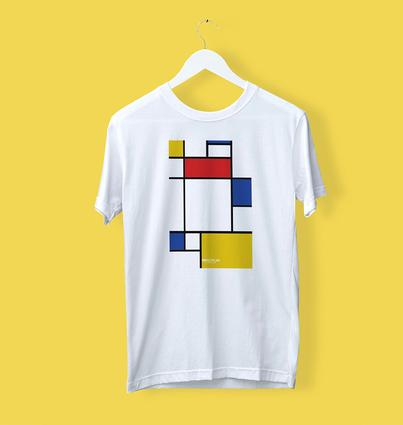 """T-shirt """"Composição de Vermelho Azul e Amarelo"""""""